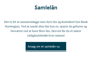 Bank Norwegian samlelån